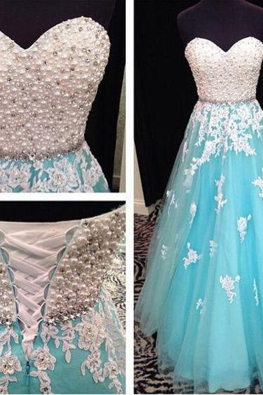 Custom Made Blue Pearl Beaded Sweetheart Neckline Evening Dress with Lace Applique A-Line Tulle Skirt