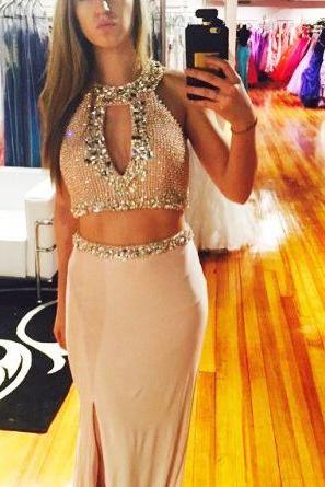 long prom dress,elegant 2 pieces long prom gown,slit graduation dress,sparkle formal dress.beaded prom dress ,beaded party dress ,2 pieces party dress ,sexy party dress