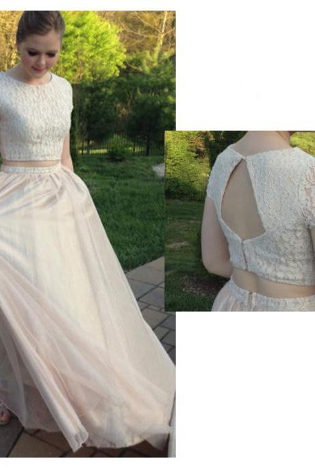 Charming Prom Dress,Tulle Prom Dress,Lace Prom Dress,2-Pieces Evening Dress