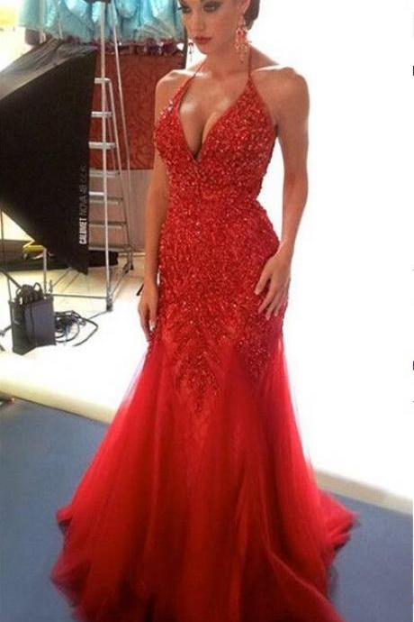 Charming Prom Dress,Tulle Prom Dress,Appliques Prom Dress,Mermaid Prom Dress,Halter Evening Dress