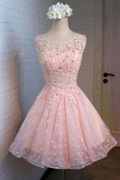 Beauty Graduation Dress,Lace Prom Dress,Appliques Homecoming Dress,O-Neck Prom Dress