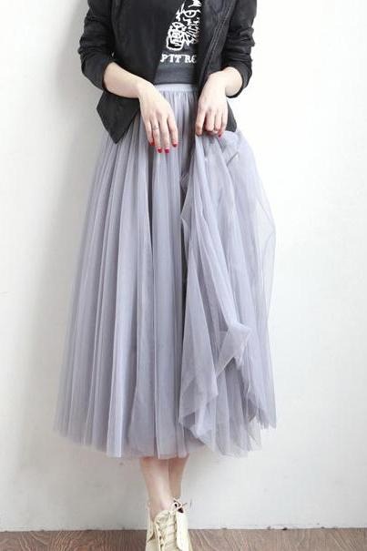 Grey Multi Layered Midi Tulle Skirt with Elastic Waistband