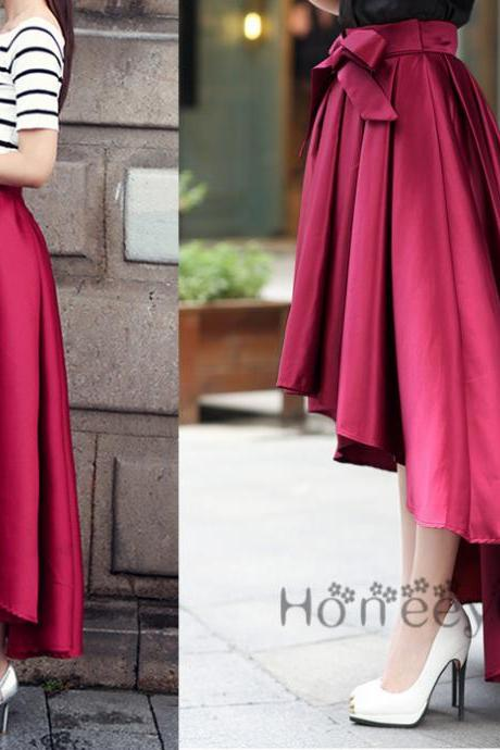 Skirt,Fashion Spring Skirt,Modest Skirt,Autumn Red Skirt,Women Skirt,High Low Skirt,Long Skirt,Party Skirt