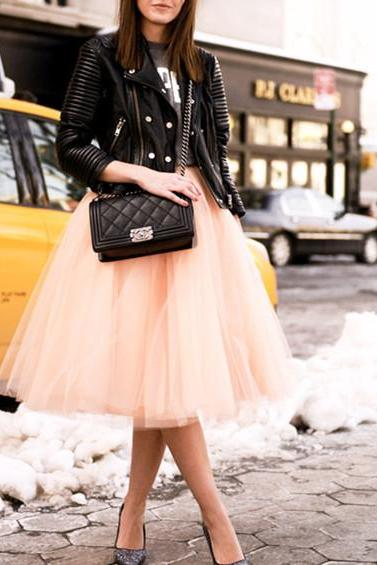 Charming Women Skirt,Tulle Skirt,Spring/Autumn Skirt,Fashion Street Style Skirt,Mid-Length Skirt, Street Style Skirt,Tulle Skirt,Charming Women Skirt,Spring Autumn Skirt ,A-Line Skirt