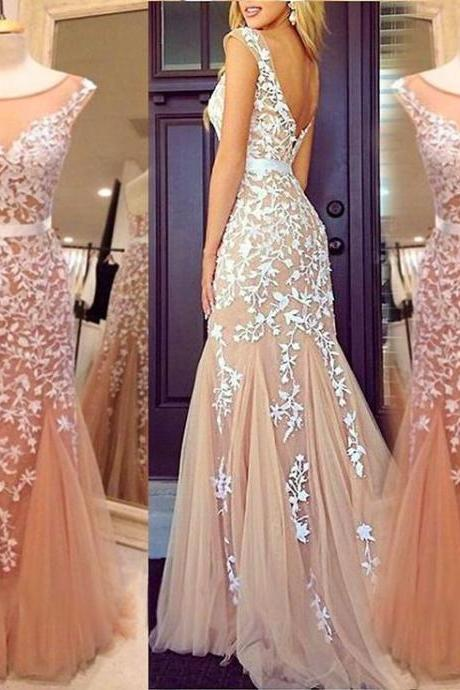 4c336cdcf3 Custom Made Pink Sleeveless Open Back Floor Length Prom Dress with Lace  Applique