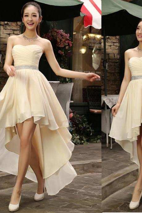 New Arrival High Low Prom Dress,Sleeveless Evening Dress,Sexy Prom Dresses,Chiffon Party Dress