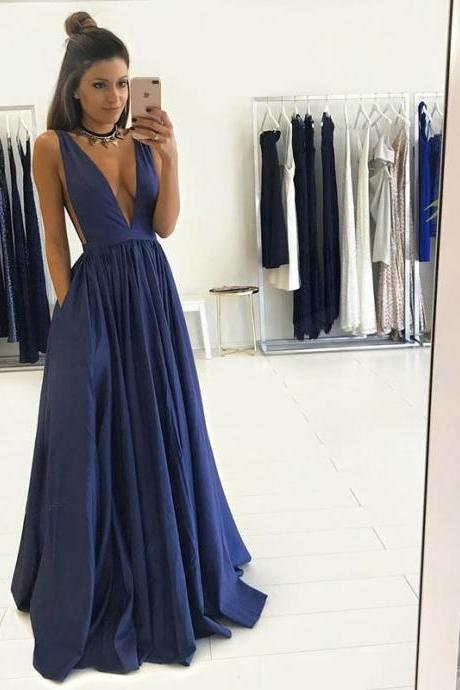 Sexy Navy Blue Deep V Neck Formal Gown, A Line Prom Dress, Long Party Dress With V Back
