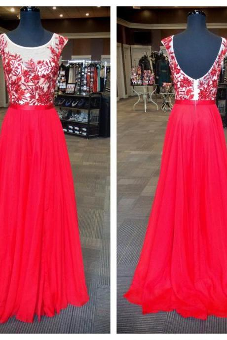 Red Sheer Floral Embroidered Chiffon A-line Floor-Length Prom Dress, Evening Dress, Formal Dress