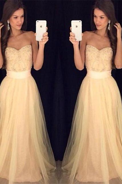 2017 Sexy Sweetheart Formal Dresses,Beading Tulle Fashion New Off The Shoulder Long Prom Dresses