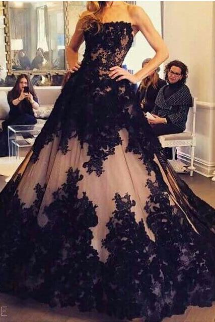 Black Lace Luxury Evening Dresses 2017 A-line Strapless Backless Sweep Train Tulle Formal Party Dresses,Dress,Gowns,black lace evening dress,