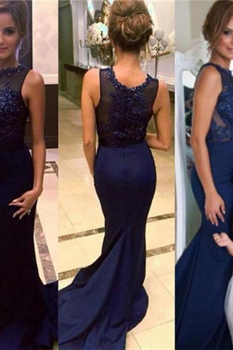 Navy Blue Prom Dress,Charming Prom Dress,Long Prom Dresses, Sweep Train Prom Dress,Sequins Beads Evening Dress, Elegant Bridesmaid Dress,Formal dress