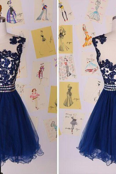 New Short Prom Dresses Special Occasion Dresses Blue Lace Party Gown,New Fashion Pretty Chiffon Prom Dress