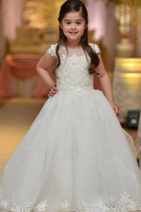 2017 Flower Girl Dresses for Wedding Pink Pageant Dresses Appliques Ball Gown First Communion Dresses for Girl Kids Evening Gown Kids