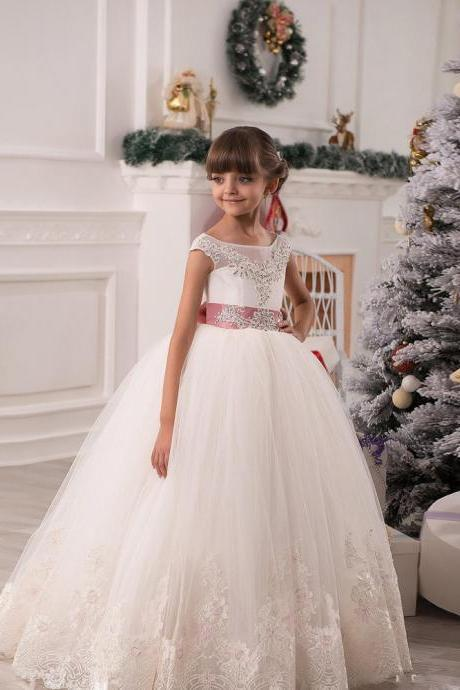 Custom Made lace appliques ivory ball gown with belt beaded crystal cute flower girls dress first communion dresses for girls Kids