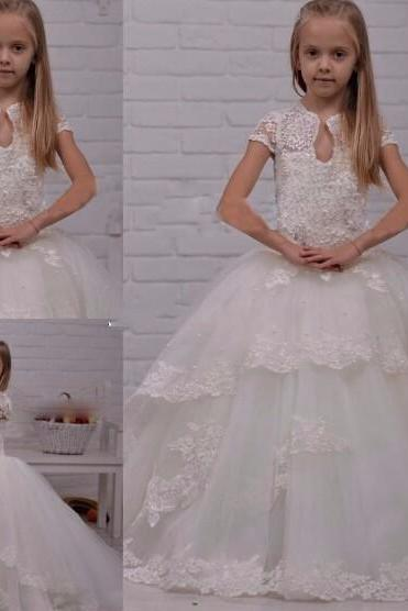 Lace Beaded Ball Gown Flower Girls Dresses For Wedding With Girls Pageant Dress For Little Girls 2017 First Communion Gown Kids