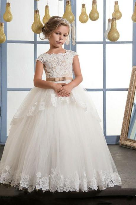 New Fashion High Quality Lace Appliques Flower Girl Dresses With belt baby girl ball gown holy communion dresses vestido daminha Kids