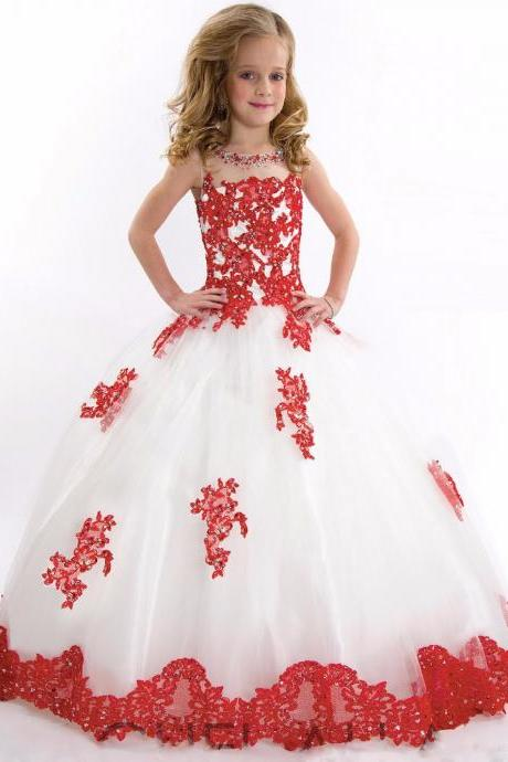 Ball Gown Flower Girls Dresses Scoop Sleeveless Floor Length Lace Appliqued Kids Pageant Dresses Childs First Communion Kids