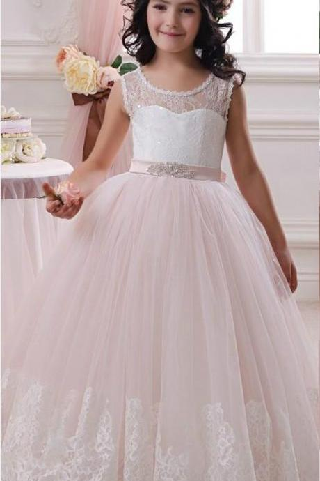 Flower Girl Dresses by Tulle Ball Gown Scoop first communion dresses for girls wedding Occsion prom dress children Kids