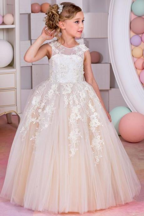 Lace Champagne Flower Girl Dresses for Weddings Tulle Ball Gowns Baby Girl Communion Dresses Children Girl Pageant Gowns Kids