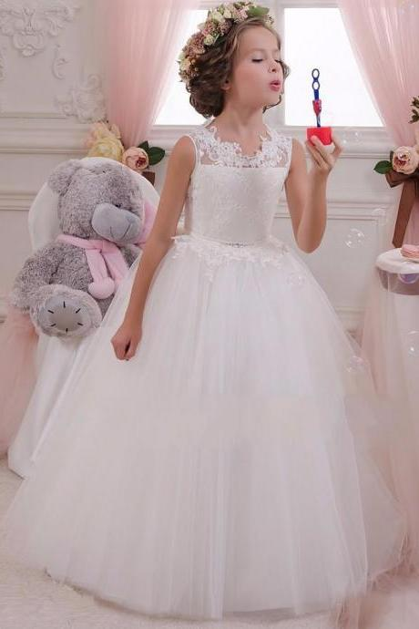 White Lace Flower Girls Dresses For Weddings Junior Bridesmaid Kids Long Bow Cheap Backless Toddler Little Girl Pageant Kids