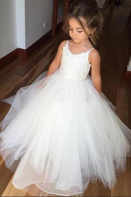Cute Flower Girls Dresses for Weddings Lace Top Ball Gown Girls Pageant Party Gowns First Communion Dress for Child Teens Kids
