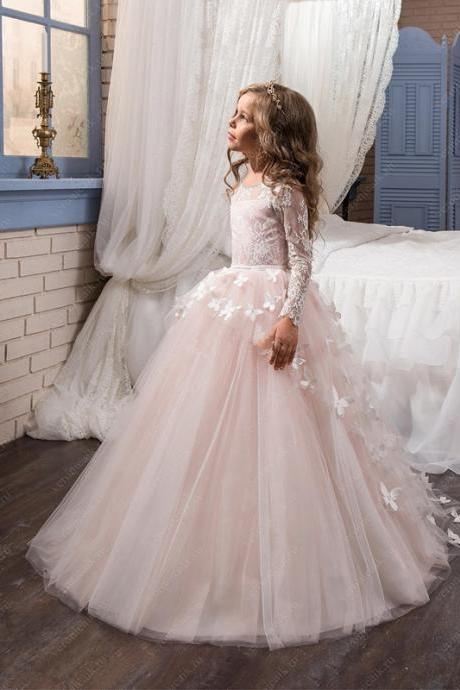 Blush Pink Long Sleeve Flower Girl Dresses for Wedding Flowers Ball Gown Little Girls Communion Party Pageant Dress Kids