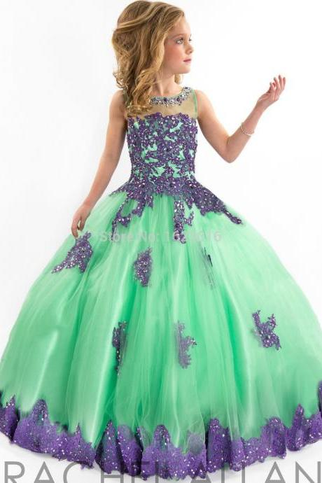Girls Pageant Dresses Ball Gown Green Red Blue Appliques Beaded See Through Cute Little Flower Girl Dresses For Wedding Kids