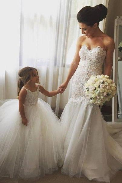 Lace Appliqués Sweetheart Floor Length Tulle Mermaid Wedding Dress