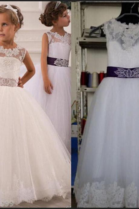 Princess Flower Girl Dresses Sashes Ball Gown Keyhole Party Pageant Dress for Little Girls Kids/Children Dress for Wedding Kids