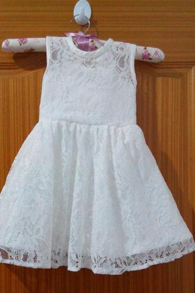 Lace Flower Girl Dresses with Bow Ball Party Pageant Dress for Little Girls Kids/Children Dress for Wedding Communion Kids