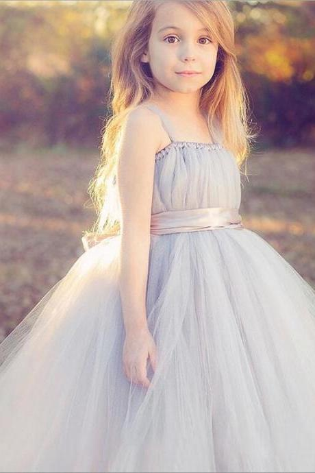 New Flower Girl Dresses with Sashes High Neck Party Pageant Communion Dress Little Girls Kids/Children Dress for Wedding kids