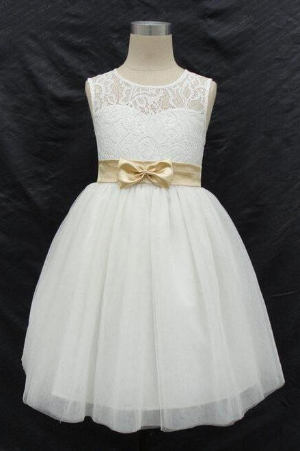 Flower Girl Dresses with Bow Keyhole Back Party Pageant Dress for Little Girls Kids/Children Communion Dress Kids