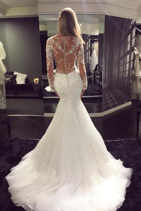 Vintage Long Sleeve Wedding Dress,See Through Wedding Dress,Sexy Mermaid Wedding Dress,Lace Wedding Dress,High Quality Wedding Dress,New Style Bridal Dress,2017 Wedding Gowns,