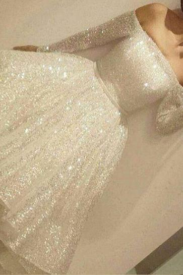 White Sequis Long Sleeve Homecoming Dress,Short Prom Dress For Teens,Sparkly Homecoming Dresses, Homecoming Dresses Sparkly, Ivory Homecoming Dress,Real Made Short Party Dress