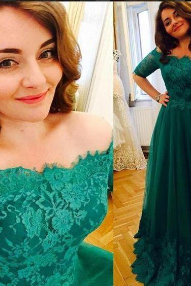 Vintage Plus Size Evening Formal Dress,Short Sleeve Prom Dresses, Princess Green 2016 Lace Prom Dresses,A Line Evening Dress,High Quality Prom Dress,Custom Made Evening Prom Dress,Hot Sale Prom Dress,
