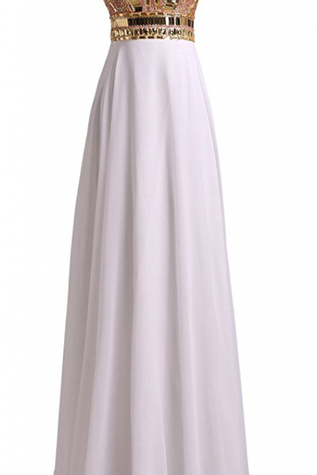 Prom Dresses A Line Chiffon Beaded Bodice Evening Gowns