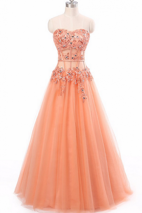 Coral Beaded Embellished Floor Length Tulle Prom Gown Featuring Corset Inspired Bodice and Sweetheart Neckline