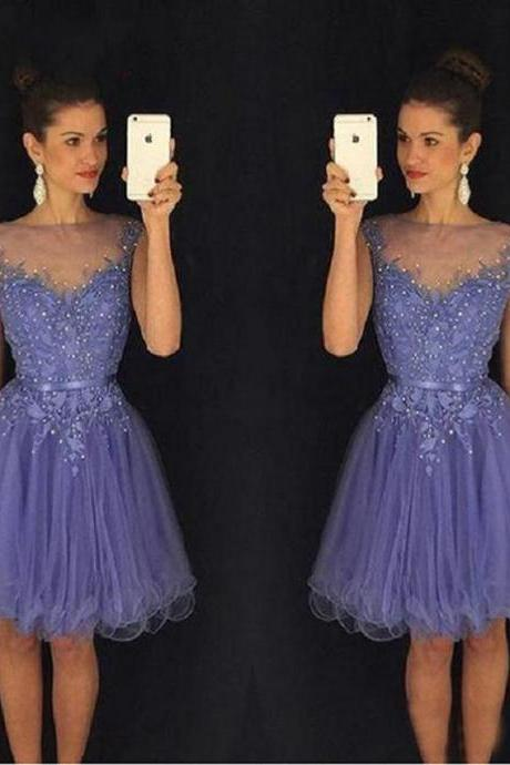 Beading And Appliques Short Prom Dress,Custom Made Tulle Evening/Party Dress ,short blue tulle homecoming dress with beaded ,
