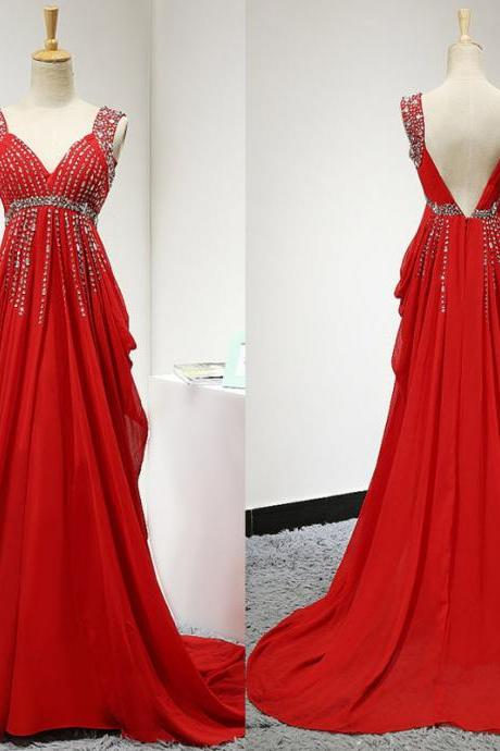 Red Backless Prom Dress,Long Elegant Chiffon Ruched Bridesmaid Dresses, Sexy V Neck Pleated Beaded Chiffon Women Evening Dresses ,Long Elegant Prom Dresses Party Evening Gowns