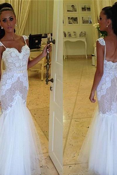 Wedding Dress, Straps Wedding Dress, Sweetheart Wedding Dress, Cheap Wedding Dress, Mermaid Wedding Dress, Lace Wedding Dress, Tulle Wedding Dress, Backless Wedding Dress, Wedding Gowns