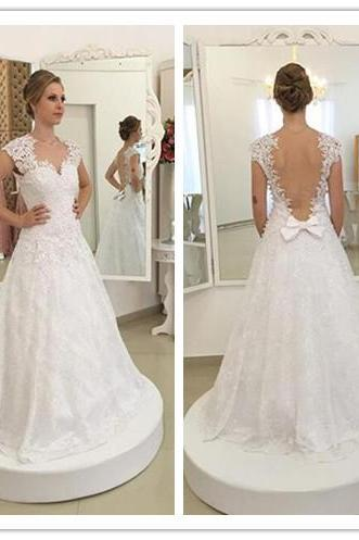 Lace wedding dress, custom wedding dress, 2017 new gown, Wedding Dress, Wedding Dresses , white wedding dress, wedding dress, O neck wedding dress, sexy weding dress ,backless wedding dress
