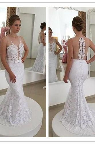 Lace wedding dress, custom wedding dress, 2017 new gown,Wedding Dress, Wedding Dresses , white wedding dress, wedding dress, O neck wedding dress, sexy weding dress ,backless wedding dress