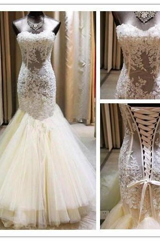 Strapless Sweetheart Sheer Lace Appliqués Mermaid Wedding Dress Featuring Lace-Up Back