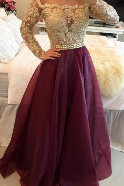 Long Sleeves Prom Dresses Gold Illusion Lace Beaded Burgundy A-line Gorgeous Evening Gownsgold lace dress with gold bead ,
