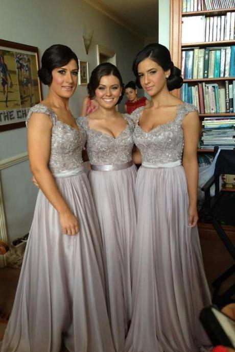 Bridesmaid dresses, pale purple shoulders bridesmaid dresses,lace and beaded Bridesmaid dresses,chiffon Bridesmaid dresses
