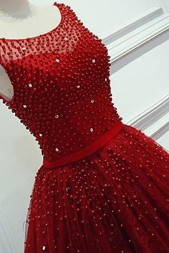 Charming A-Line Formal Evening Dress, Red Prom Dress, Red Wedding Dress, Lace Prom Dress, Red Formal Dresses, Beading Red Long Prom Dresses