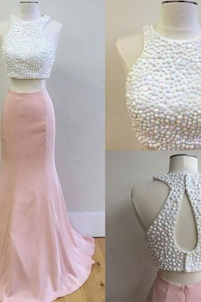 Pink Two Pieces Prom Dress, Pink Formal Dress for Teens, Mermaid Prom Dress, 2 Pieces Prom Dress, Beaded Prom Dress, Senior Prom Dress