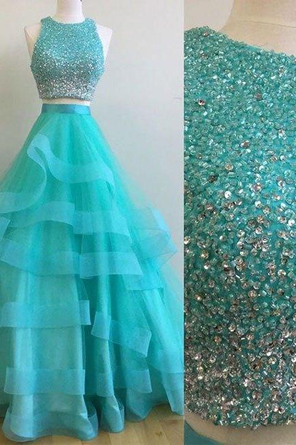 2017 Two Piece Prom Dress, Beading Prom Dress,2 Piece Evening Prom Dress,Beading Party Dress,Prom Dress For Teens,Formal Dress,Tulle Evening Dress,Green Two Pieces Sequin Long Prom Gown,Graduation Dress,