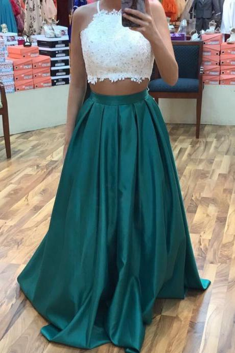 Dark Green Two Piece Prom Dresses 2017, Satin Prom Dresses,Charming Prom Dress,2 Piece Prom Evening Dress,Sexy Party Dresses,Dress For Teens,Graduation Dress,Fashion Style Prom Dress,Formal Dress,Junior Prom Dresses