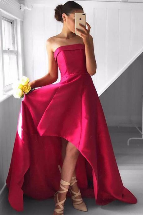 Fabulous Strapless High Low Prom Dress , Long Prom Dress,Sexy Party Dress,Custom Made Prom Dress ,Modest Prom Dress,2017 Prom Dress,Formal Dress For Teens ,,